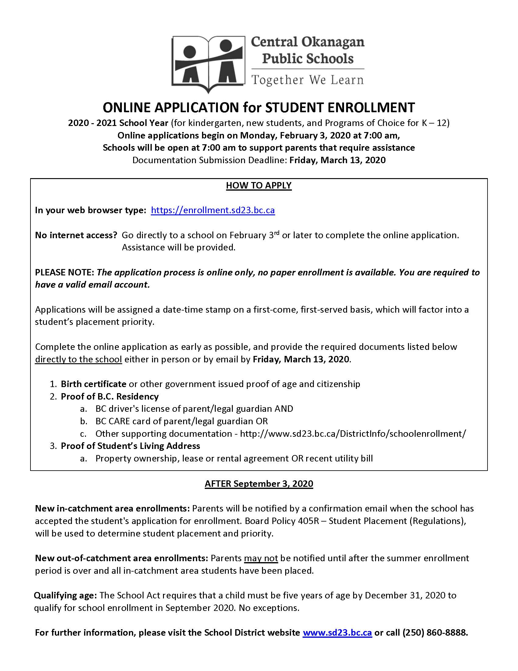 Spring Enrollment Application Process 2020-2021